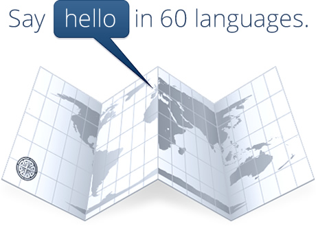 Say hello in 60 languages.